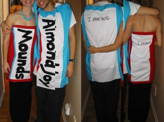 hahaha the guy wears the Almond Joy costume and on the back it ...
