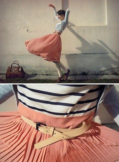 H Sheer Maxi Skirt, H Bag, Shoes, H Tights, ??? Cardigan, Stradivarius T Shirt, H Leather Belt