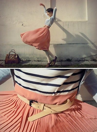 I love the skirt with the belt...and I always love stripes!