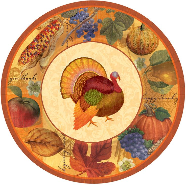 Lovely and festive Thanksgiving scrapbook paper dinner plates. Plates measure 10.5in sold 8  sc 1 st  Pinterest & 46 best P2O: Thanksgiving Tableware images on Pinterest | Party ...