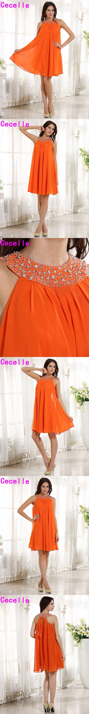 2017 Orange Short Beaded Chiffon Bridesmaid Dresses Halter Knee Length Informal Wedding Party Gowns Bridesmaid Robes Custom Made
