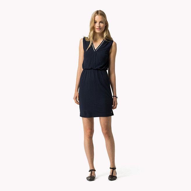 Tommy Hilfiger Ärmelloses Kleid Aus Viskose-mix - navy blazer (Blau) - Tommy Hilfiger Kleidung - detail-Bild 0