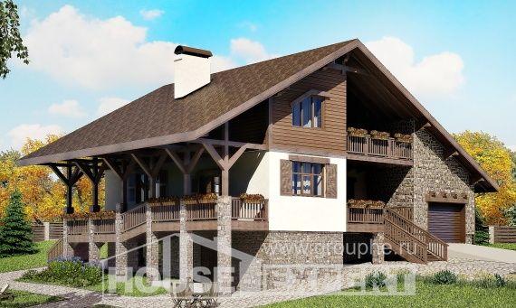 300-003-П Проект трехэтажного дома мансардой и гаражом, большой домик из кирпича