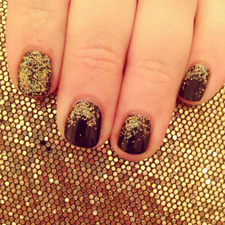Black and gold shellac   Nail time   Pinterest