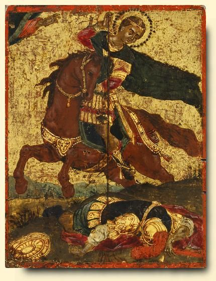Saint Demetrios of Thessalonica. Ionian Islands School icon, 18th century. The origins of St. Demetrios are more obscure even than those of his 'companion' St. George, with whom he is frequently paired in art. Modern research supposes that he was probably a deacon martyred at Sirmium (circa 3rd century) and that he was later transformed by popular imagination into the great warrior saint, second only to St. George in popularity. His cult developed in Salonika.