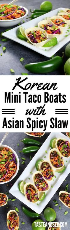 Korean Mini Taco Boats with Spicy Asian Slaw – your new favorite game day grub! | Asian | Appetizers | Tacos | http://tasteandsee.com