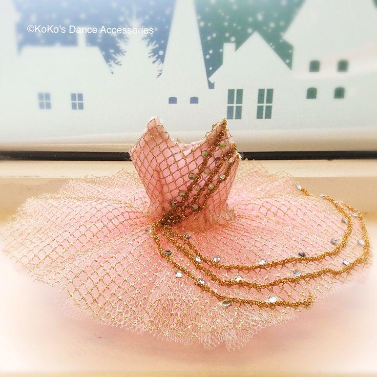 A pink and gold miniature tutu.  #ballettutu #pinktutu #miniaturetutu #minitutu #balletinoxford #tutufordolls #dollstutu #dolltutu #dulcineatutu #corsairetutu #lecorsairetutu
