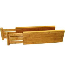 Organize messy cluttered drawers in your kitchen bedroom or office with these eco-friendly Expanding Bamboo Drawer Dividers. These adjustable drawer dividers are spring loaded to span across drawers 12 3/4 inches to 17 3/8 inches deep and are constructed from sturdy bamboo which is one of the most highly renewable natu
