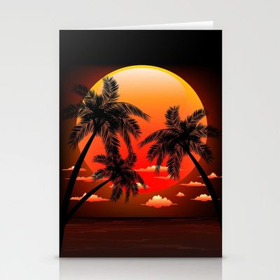 Warm Topical Sunset with Palm Trees Stationery Cards