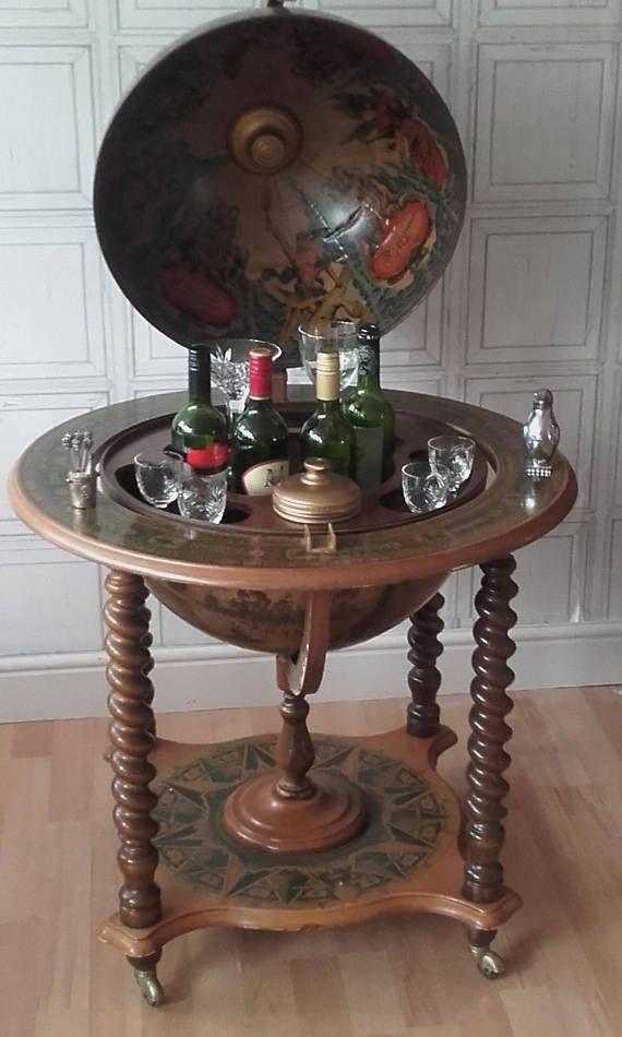 Vintage Large Spinning old world map globe drinks Globe Drinks Cabinet,  Spinning Globe, Map - Vintage Large Spinning Old World Map Globe Drinks Cabinet/cocktail
