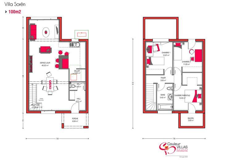 Plan étage Abesses 96 - La maison Abesses possède une surface
