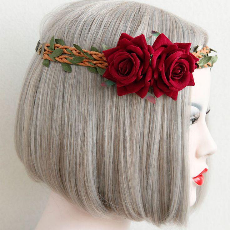 >> Click to Buy << Zebery Weave Bridesmaid Bridal Elastic Headwear Wreath Flower Crown Party Wedding Hair Wreaths Beach Photography Props #Affiliate