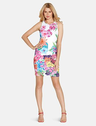 LAUNDRY BY SHELLI SEGAL Print Neoprene Tank Dress