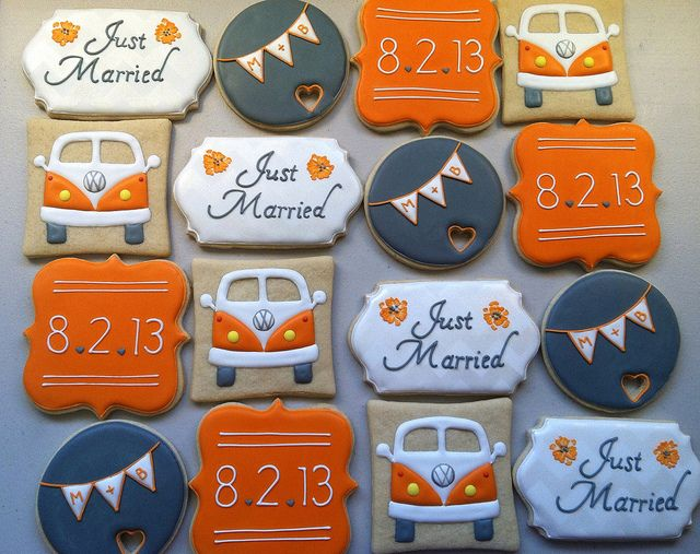 VW bus wedding cookies |