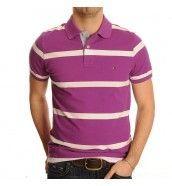 New Bar Short Sleeve Striped Polo Shirt In Purple