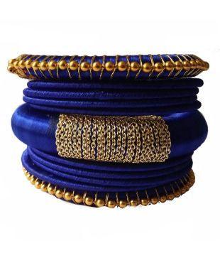 Kuhuk Blue Silk Thread Bangles Set