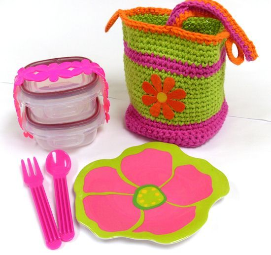"""Link to free pattern for """"Happy Bento Lunch Caddy""""!"""
