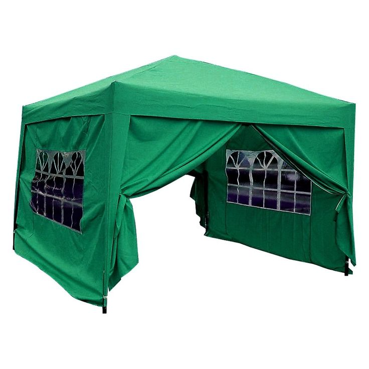 MCombo 10x10 ft EZ Pop-Up 4-Walled Canopy Party Tent Gazebo w/ Sides (Green 10'x10' EZ Pop Up Canopy Tent), Size 10 x 10 (Fabric) #6051-1010G