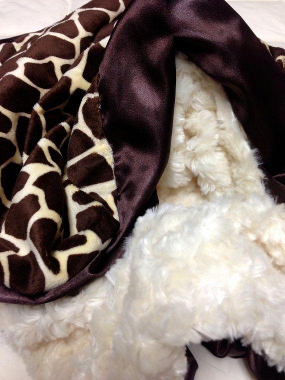 Cream Rose Swirl, Giraffe Print With Ruffle Trim Minky Blanket 30x40