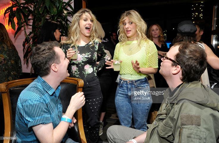 Phoebe Tyler (2nd from L) and Claire Tyers (3rd from L) with festivalgoers at the 'Search Party' scavenger hunt during Vulture Festival LA presented by AT&T on November 18, 2017 in Hollywood, California.