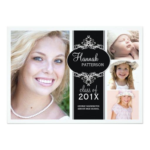 124 best photo graduation invitations images on pinterest elegant girl 4 photo black white graduation card filmwisefo Images