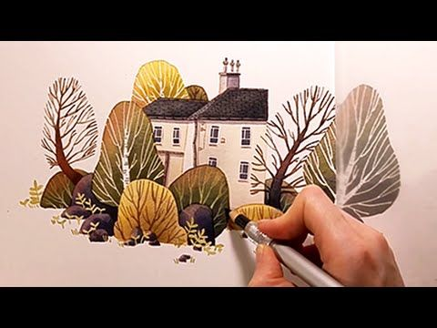 "Watercolor Illustration ""House with garden"" with colored pencils speed p..."