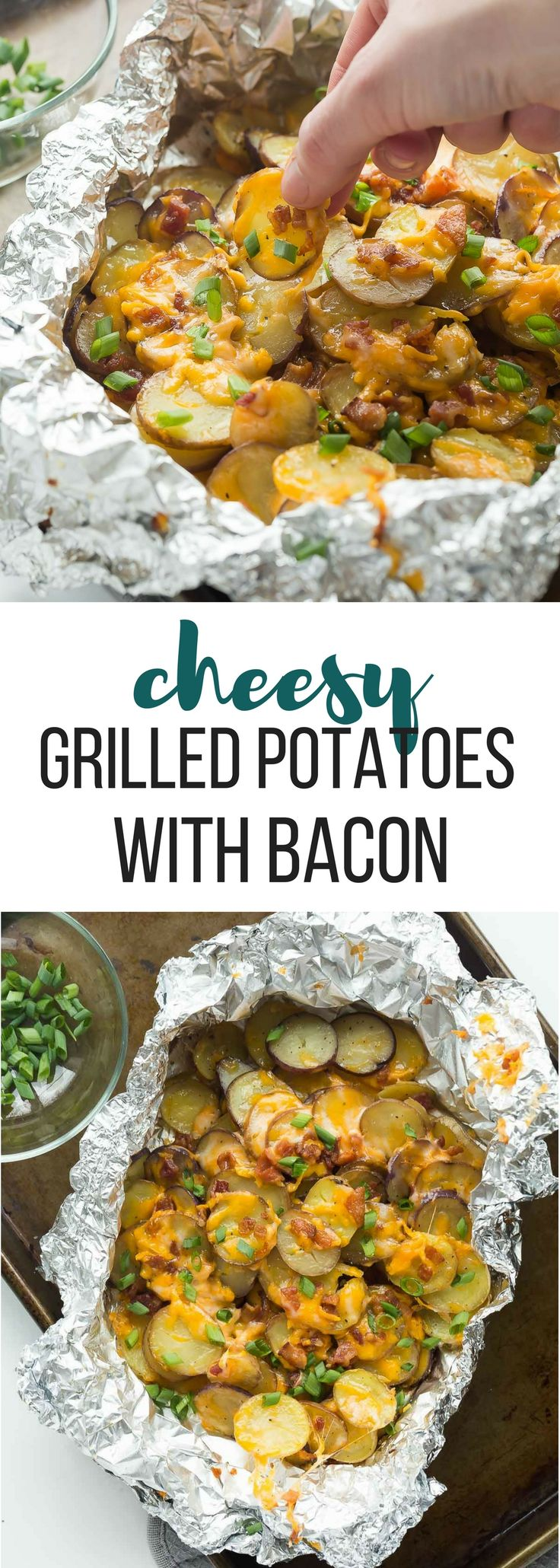 These Cheesy Grilled Potatoes with Bacon are an EASY foil pack side dish or appetizer for summer! Make it a full meal deal by adding extra veggies or chicken. Includes step by step recipe video. | grilled | grilling | side dish grill | barbecue | make ahead | prep ahead | summer