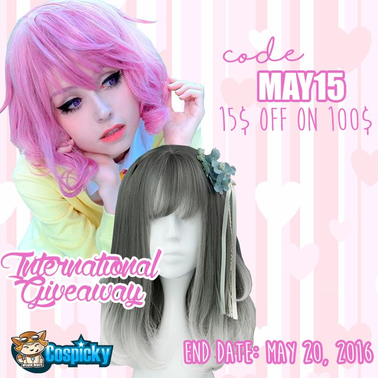 "Cosplay with you best friend   Join in our giveaway then win 2 wigs , one for you and one for your best friend. Total 2 winners, one pick from instagram and one from rafflecopter   During the giveaway, we have a promotion for you too, use code ""may15"" for 15$ off on 100$ or above spending. 1. Follow @Cospicky 2. Like and Repin this pic 3. Finish above and enter here: http://goo.gl/KBgi6w 4.Ends on May 20th 2016"