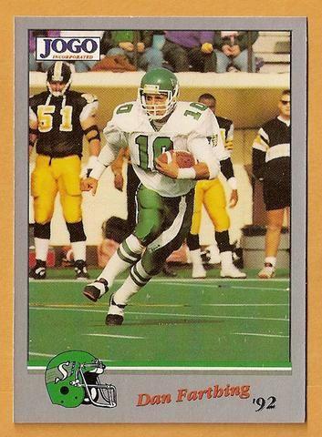 Dan Farthing CFL card 1992 Jogo #141 Saskatchewan Roughriders Saskatchewan Huskies