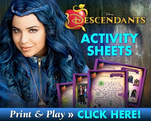 Download FREE Descendants Activity Sheets