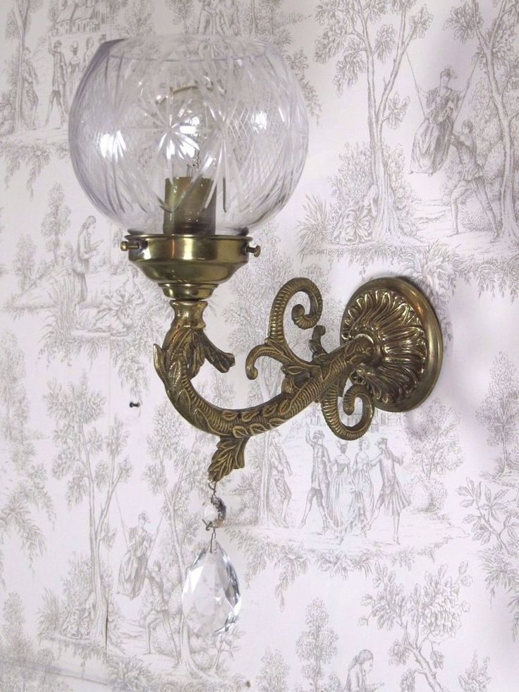 Crystal Shade & Bronze Antique Art Nouveau French Wall Lamp Light Sconce
