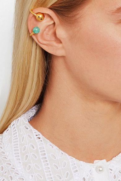 Paula Mendoza | Pierce set of two gold-plated cabochon ear cuffs | NET-A-PORTER.COM