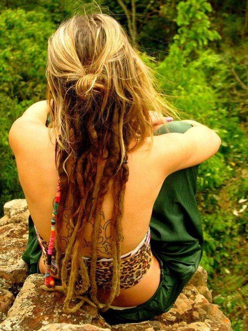 long, blonde, half dreaded hair