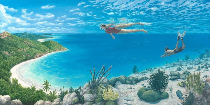"""Beyond the Reef"" A Modern Surrealist Painter Picks Up Where Dalí Left Off- Rob Gonsalves is a 55-year-old Canadian of Portuguese descent who paints scenes that fill in the space somewhere in between everyday activities and hallucinations. His images contain dual representations of reality—with his particular artistry forming at the intersection between fantasy and nonfiction."