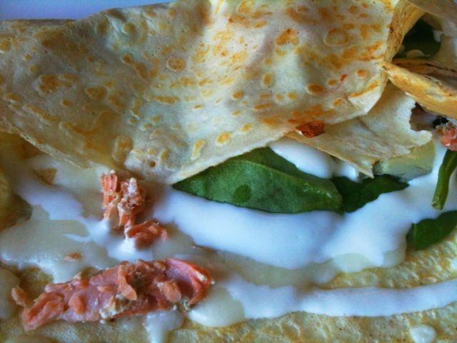provencal crepe, chicken, spinach mushrooms adn mozzarella, mustard ...