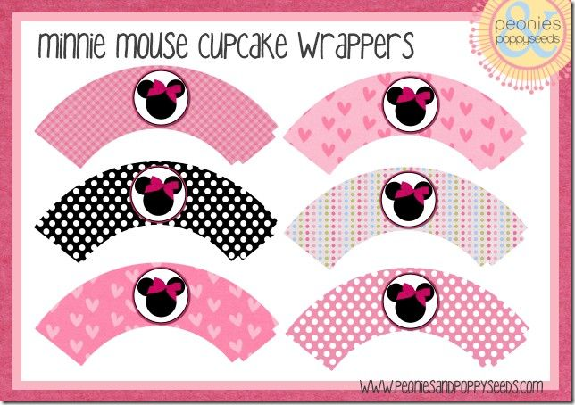 Minnie Mouse Cupcake Wrappers and Medallions | Peonies and Poppy Seeds: