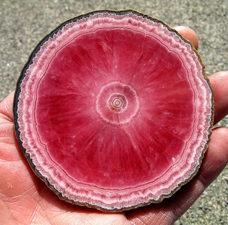 Rhodochrosite  - Stalactite ( thinly sliced segment)