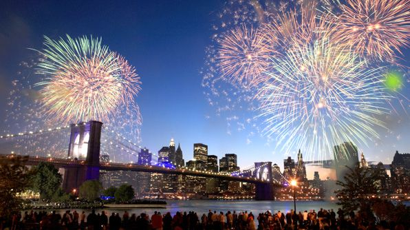 Fireworks in New York City.