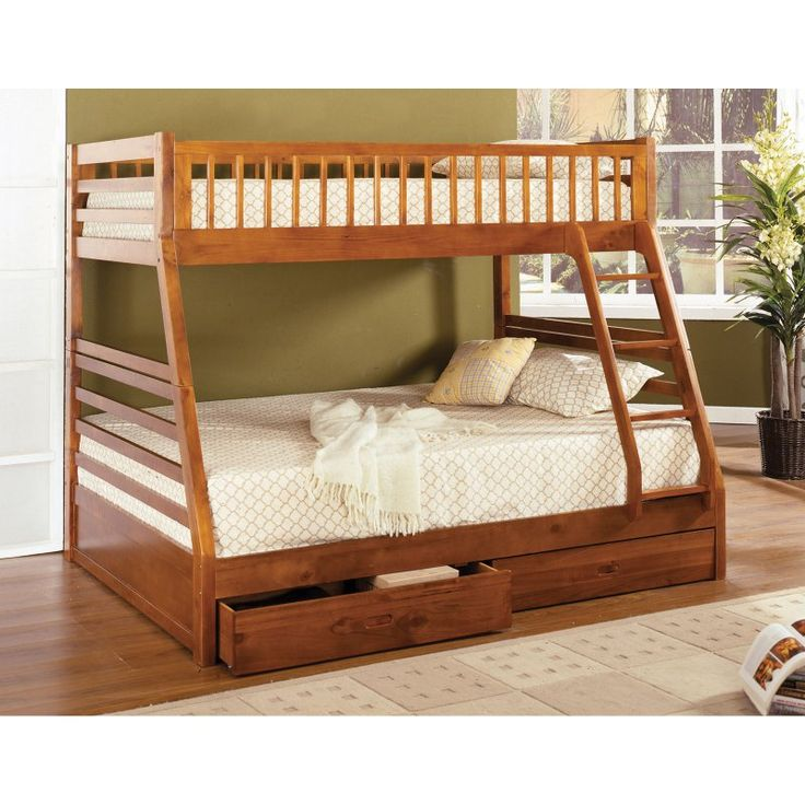 Furniture of America Twin over Full Bunk Bed with Storage Drawers - IDF-BK601A