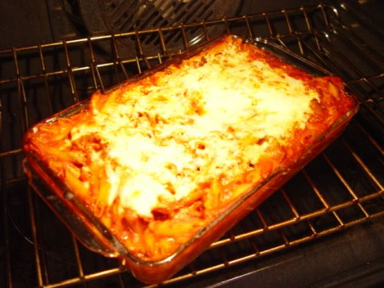Looking for a way to use up that leftover Tomato Sauce you made the other day? What better way than to try this ziti recipe! You can use canned sauce, but homemade is always better! Hope you enjoy this recipe! My kids practically grew up on it