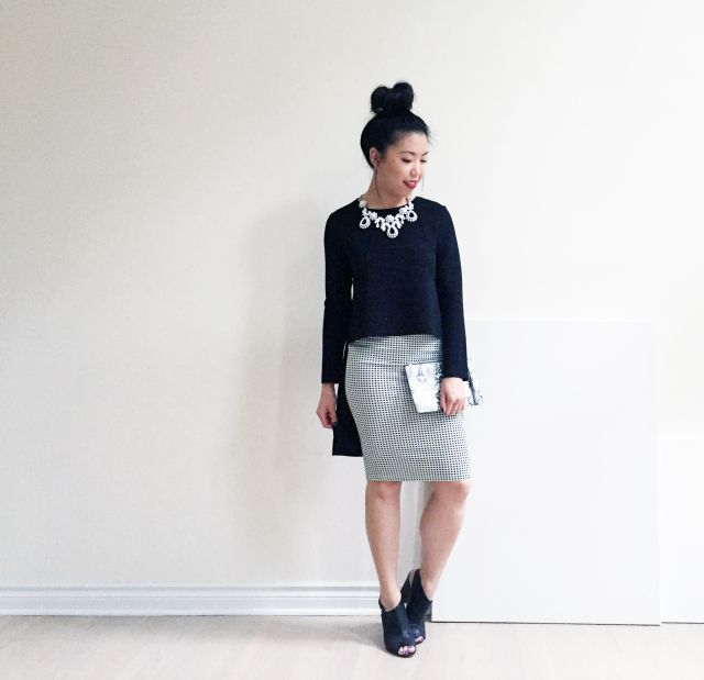 Birthday Lookbook Out #3: Zara High-Low Top, Forever 21 Skirt, H&M Chunky Heels, Cotton On Slim Pouch, J.Crew Statement Necklace