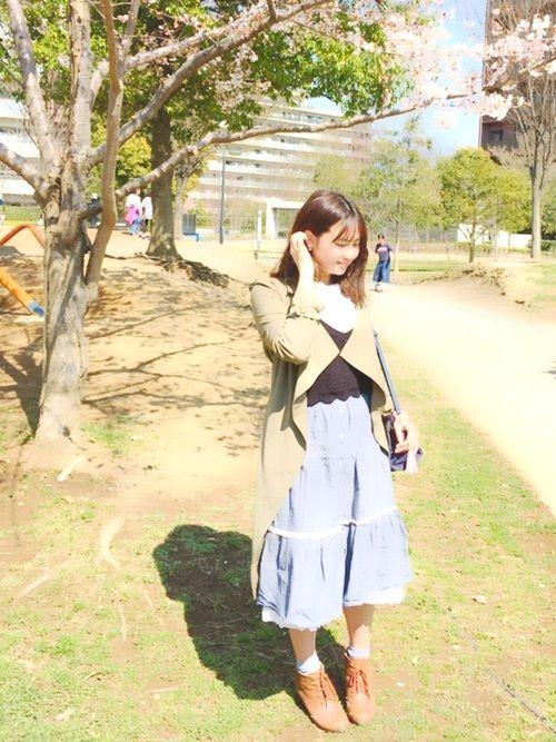 今日はうねうね公園にお花見に行きました(*ˊ˘ˋ*) 最近、リア充、幸せ💞 今日のコーデはお花見デ