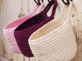 small hanging crochet basket door knob basket small storage basket bathroom basket