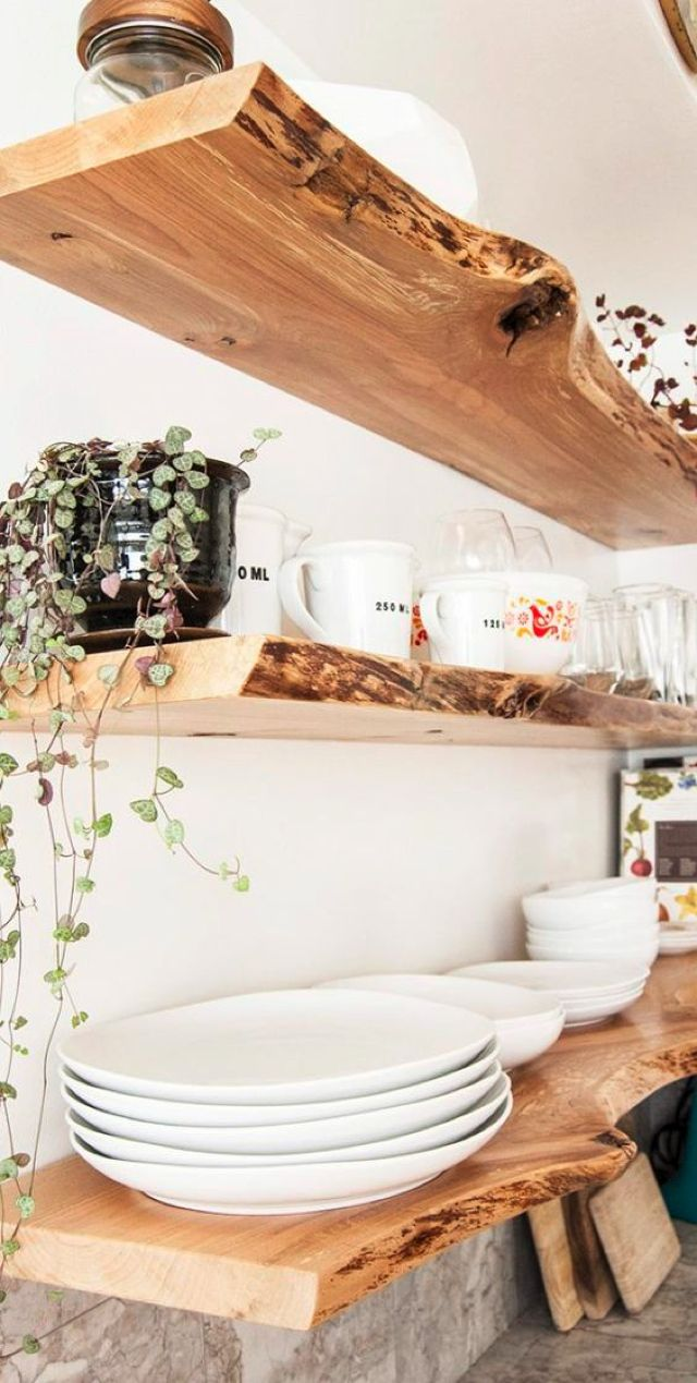 Awesome stylish kitchen 7 natural wood floating shelves ideas floating shelves in natural wood are ideal if you are looking for a sophisticated