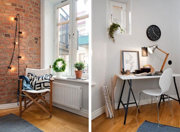 Architecture, Scandinavian Study Room Design With Exposed Brick Wall Panels Varnish Wooden Floor Tiles And White Pilot Wooden Desk With Chai...