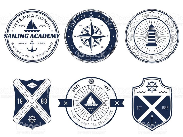 Blue and white sailing and maritime symbols and logos royalty-free stock vector art