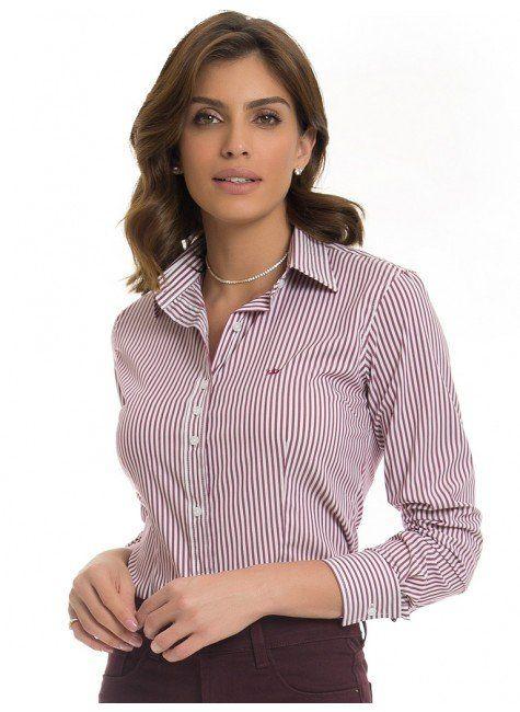 1f723ab48 Camisa Social Feminina Listrada Principessa Samara em 2019