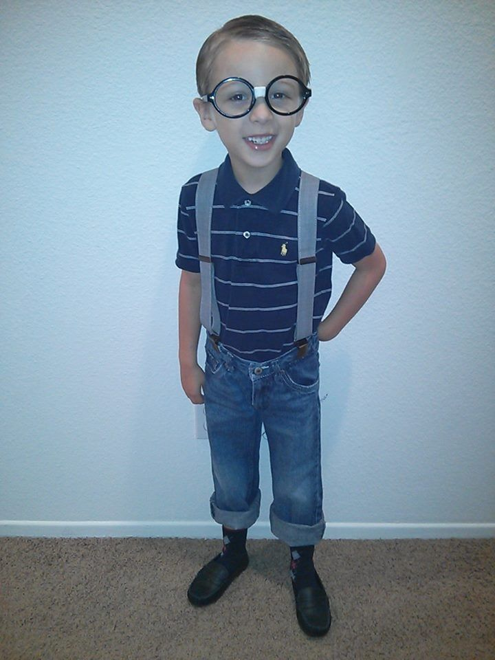 Spirit week at school Nerd day. Punched out the lenses of my glasses wrapped tape around them ...