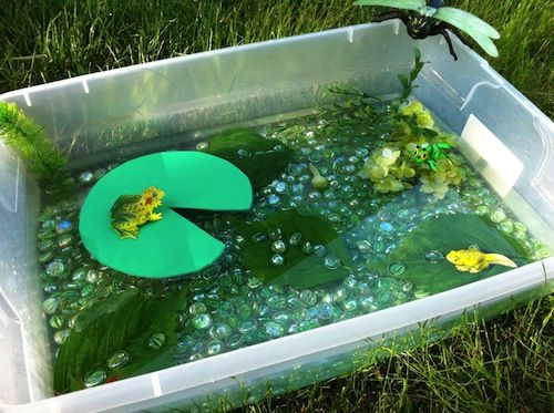 Sensory table...a pond to go with the camping center!