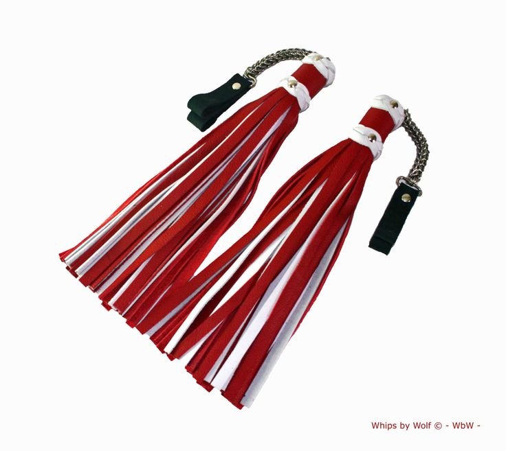 Set of leather bdsm poi floggers- ±40 falls each- Heavy stainless steel chainmail- Deep red and white nubuck leather- thudy- Genuine leather by WhipsbyWolf